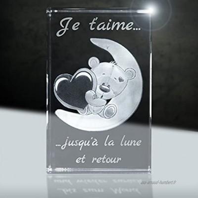 3D Verre | Je t'aime | Motiv: Ours sur la Lune | 80x50x50mm | Cadeau Couple d'amour