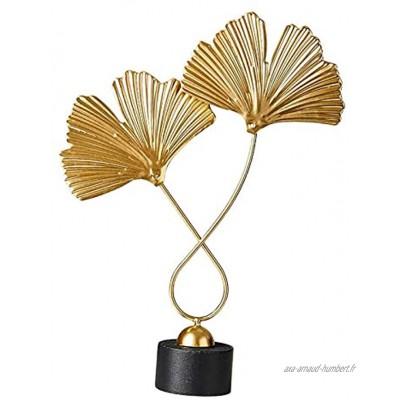 Baoblaze d'or Ginkgo Feuille Métal Sculpture Petit Fer et en Bois Sculpture Pièce D'accent Moderne Objet de Décoration pour La Maison Bureau Table et de Bureau