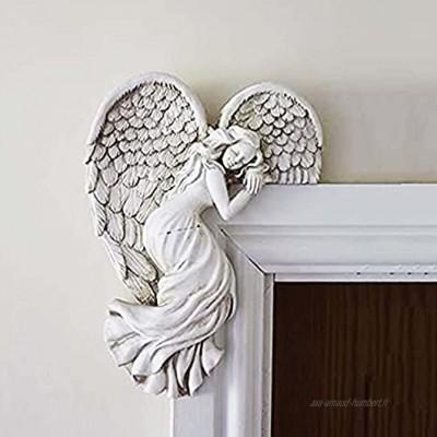 NFSQSR Sculpture d'ailes d'ange de Cadre de Porte Ornements de Cadre de Porte d'ange Ornements de Figurines de résine de décoration Murale pour Le Bureau de Chambre à Coucher de Salon-Left