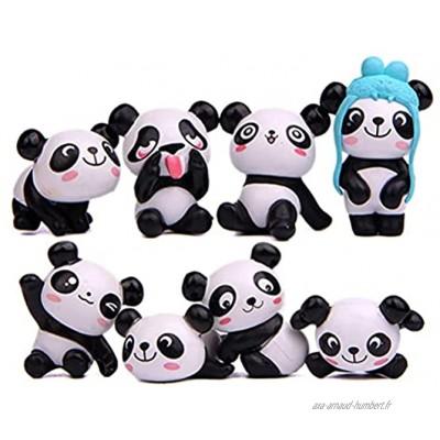 Pandas Figurines,8 PCS Panda Figures Mignon Miniature Panda Mini Figurines Animales Cadeaux pour Filles Miniature Jardin Ornement Jardinage Poupée Gâteau Décoration pour Fête Enfant