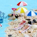 Parasol de Plage Miniature PVC Décoration pour Micro Paysage Bonsaï Bleu