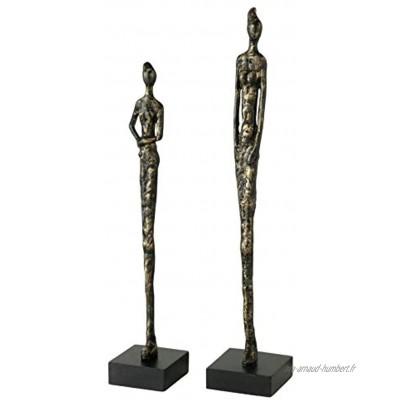 CasaJame Lot de 2 sculptures décoratives modernes Pour femme Hauteur : 46,5-54,5 cm Marron antique doré En résine