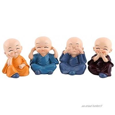 Lot de 4 statues de Kung fu Petits moines Prospérité Décoration de bureau Cadeau créatif Objet de collection