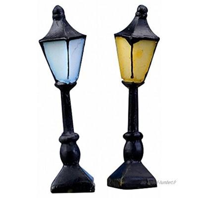 Qsewid Lot de 2 mini lampadaires rétro peints à la main pour maison de poupée Décoration de jardin féérique Jaune + Bleu