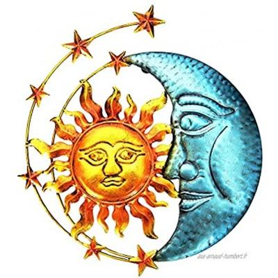 Décoration Murale En Métal Sculpture Soleil Lune En Métal Art Mural Sur Le Thème Céleste Tentures Murales D'art Jardin Oeuvre Sculpture Pour Le Salon L'intérieur La Décoration De La Maison