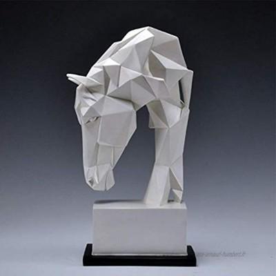 Tête de Cheval Statue Résine d'animaux Décoration de la Maison Nordic Geometric Origami Artisanat Figurines Figurines Meubles Salon Salon Decor Statuette