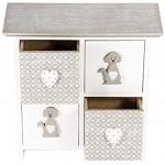 Boîte en Bois Rangement Coffret en Bois avec 4 Compartiments Tiroirs Chien Deco Cadeau pour Amoureux des Chiens et Animaux