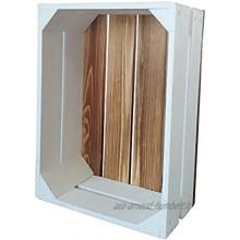 Caisse en bois Caisse à fruits vin Caisse décorative blanche + flammée 38 x 28 x 15 cm