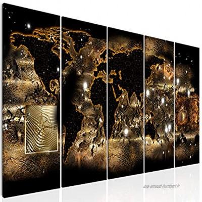 decomonkey | Impression sur Toile intissée Carte du Monde Abstrait 200x80 cm XXL 5 Pieces Tableau Mural Image sur Toile Photo Images Motif Moderne Décoration tendu sur Chassis Continent