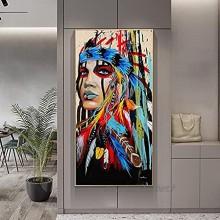 """HONGC Aquarelle Femme Indienne avec Plumes Affiches Et Gravures pour Salon Décoration Murale Pop Art Fille Indienne Toile Art Peintures Murales 60x120cm 23.6""""x47.2 avec Cadre"""