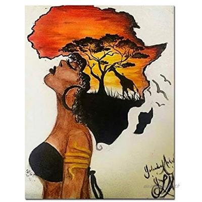 """HYFBH Classique Africain Femme Peintures Abstrait Coucher De Soleil Paysage Mur Art Toile Impressions Et Affiches Photos Décor À La Maison 60x80 cm 23.6""""x31.5 avec Cadre"""