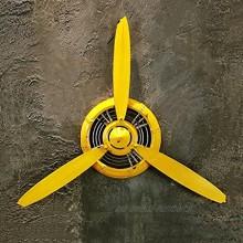 LOFT Décorations murales jaune Rétro style industriel Avion hélice Décorations fer Tenture murale Pendentif Décoration murale L * W * H 67 * 7 * 53 cm Décoration murale Couleur : B