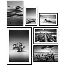murando Set de 6 Affiches avec Cadre Noir Tableaux Impression Artistique Poster Encadré Tableaux Murale Galerie Moderne Décoration Image Graphique Design Noir Blanc Nature Paysage Désert Mer