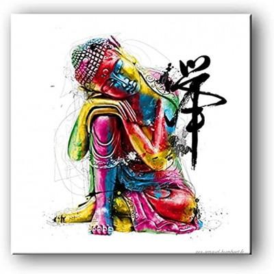 None brand Zen Bouddha Statue Affiches décoration de la Maison Toile Peinture HD Photos Studio Salon Quadro Mur Art Peinture Pas de cadre-50X50 cm