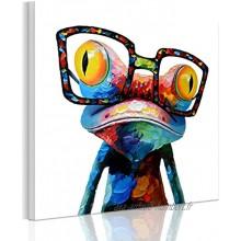 RAIN QUEEN 50 * 50cm Multicolor Animal Grand Format Impression sur Toile Bois Châssis Wall Art 50X5cm Grenouille