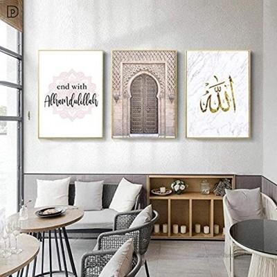 zszy Allah Islamique Mur Art Toile Affiche Marocain Arc Rose Porte Musulman Décoratif Image Peinture Moderne Mosquée Décor À La Maison-50x70 cm x 3 pcs sans Cadre