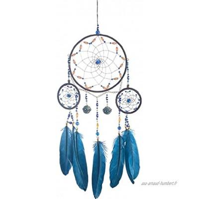 Abcidubxc Attrape-rêves à plumes bleues Carillon à vent 3 cercles Décoration murale pour chambre d'enfant Motif plumes bleues Attrape-rêves