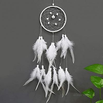 NEHARO Catcher de rêve Dream Catcher de Mur d'enfants Suspendus Décor Main Plume Blanche Boho Dreamcatcher Mobiles décoratifs Color : White Size : 50 * 11cm