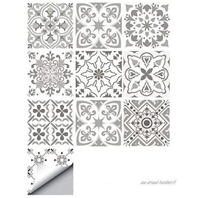 decalmile 10 Pièces Stickers Carrelage 15x15cm Gris et Blanc Marocain Carrelage Adhésif Mural Cuisine Salle de Bain Carreaux de Ciment Mural Décoration