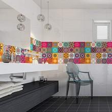 Stickers Carrelage Adhésif Sticker Autocollant Carreaux de ciment – Décoration Murale Stickers Tiles pour Salle de Bain et Cuisine Carreaux de ciment adhésif mural 10 x 10 cm 24 pièces