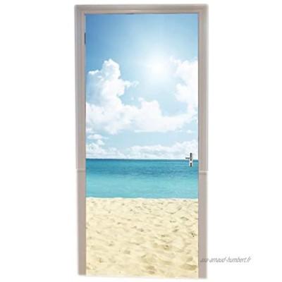 A.Monamour Sticker Porte Autocollant Poster de Porte 3D Océan Tropical Plage De Sable Blanc Ciel Bleu Nature Paysages Vinyle Affiche de Porte Sticker Mural Papier Peint Art Décor 90 x 200 cm