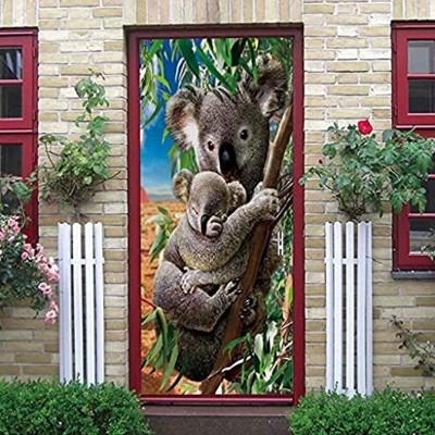 NXCNTD Sticker De Porte Trompe l'oeil Koala animal gris Intérieure Papier Peint pour Chambre Salle de Bain Cuisine Décor Porte Murale Peintures Imperméable Vinyle Autocollants 77x200cm