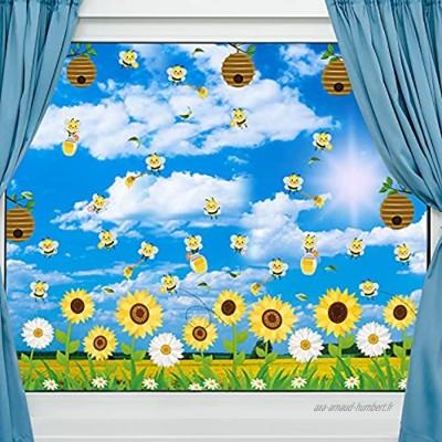 9 Feuilles Clings de Fenêtre Printemps-Été Stickers de Fenêtre Bourdon Autocollants de Fenêtre de Fleur d'Abeille de Miel pour Fête du Printemps et de l'Été Autocollant Verre Anti-Collision