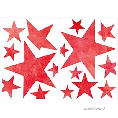 dekodino® Graz Design Autocollant pour fenêtre de chambre d'enfant Motif étoiles Rouge