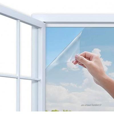 Film Miroir Fenêtre Anti UV Contrôle de la Chaleur Sun Blocker Protection de la Vie Privée Verre Film Décoratif pour la Maison et Les Fenêtres de Bureau 44.5 x 200cm Argent