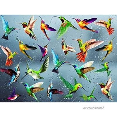 KAIRNE 24 Pcs Autocollant de Fenêtre de Colibri,Oiseaux Stickers pour Fenêtre,Sticker Mural Oiseaux Colorée,Empêcher D'Impact D'Oiseau sur Fenêtre Autocollant,Animaux Stickers pour Chambre Salon Décor