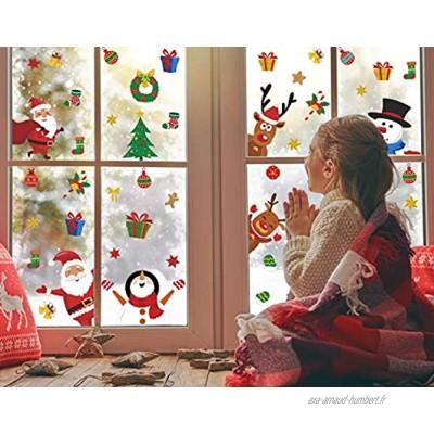 KAIRNE Autocollant de Fenêtre Noël,Autocollants de Fenêtre Renne et Père Noël,NoëL Stickers Bonhomme de Neige Décoration,DIY Amovibles PVC Réfléchissants Décalcomanie pour Noël Accueil Boutique Porte