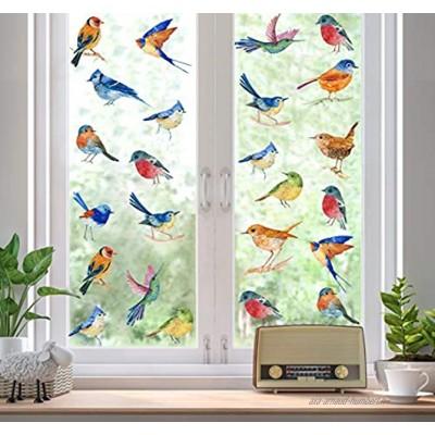 KAIRNE Stickers de Fenêtre de Colibri,Sticker Mural Oiseaux Aquarelle,Autocollant Mural Oiseaux Colorée,Empêcher D'Impact D'Oiseau sur Fenêtre Autocollant,Animaux Stickers pour Chambre Salon Décor