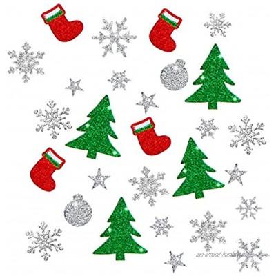 Wishstar Autocollants de Noël 10 Feuilles Noël Autocollants Fenetre NoëL Décoration Stickers Brillant DIY Enfant Amusant Botte de Sapin Noël Boules Noël Etoile Flocon Neige