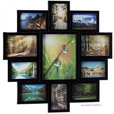 Relaxdays 10021953_46 Cadre photos pele-même cadre 11 photos Galerie mur mural lettres noir