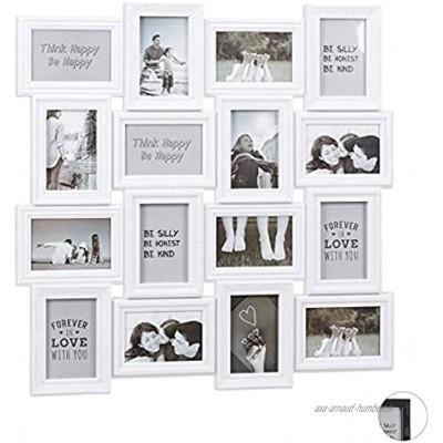 relaxdays pêle-mêle 16 Photos Galerie Mur Cadre Mural 9x13 Collage Vertical Horizontal Hxl 70x70 cm Blanc PP Carton Weiß 70 x 70 x 2,5 cm