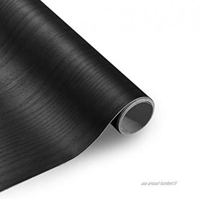 KINLO Papier Peint Grain de Bois Noir 61 * 500CM Autocollant de Meubles épais PVC Adhésif Film Autocollant Imperméable Stickers Meubles Applicable aux Cuisines et Salons etc.