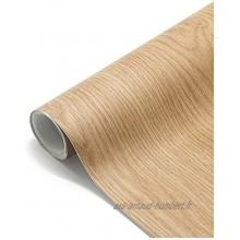 Losuda Auto-Adhésif Papier Peint Grain de Bois 61 * 500cm Autocollant étanche Stickers pour Armoire de Cuisine en PVC Imperméable Stickers Autocollant Muraux pour Chambre Salon Meuble