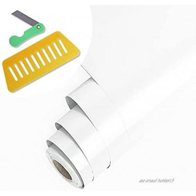 Papier Adhesif pour Meuble Cuisine Porte Mur Stickers Rouleau Adhesif Décoratif 40x500cm Blanc
