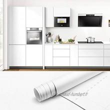 Papier Peint Auto-Adhésif Meuble Papier Adhesif pour Meuble Cuisine 61x500cm Blanc Imperméable PVC Papier Autocollant Meuble Stickers Meubles Armoire de Cuisine Stickers pour Armoire Cuisine Meuble