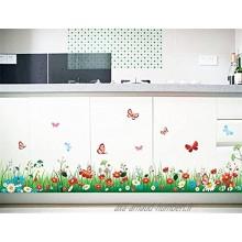 Prairie D'Herbe Verte Stickers Muraux avec Fleurs Colorées et Papillons Autocollants Muraux Amovibles Vinyle DIY Multicolore Mural Art Stickers pour Chambre Bébé Salle de Jeux Chambre enfant