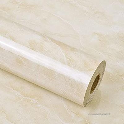 Shackcom Papier Adhesif pour Meuble de Marbre,60 x 300cm marbre Film Autocollant pour Meuble Film décoratif,Film Auto Adhésif Sticker de PVC Imperméable Vinyle Film pour Salle de Bain Cuisine-Jaune