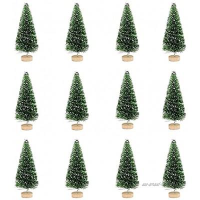 12pcs Arbres de Givre de Neige de Noël Sapin de Noel Miniature Mini Sapin de Noël Artificiel Mini Dédoration de Table de Décoration d'arbre de Noël Arbres de Bouteille de Noël Bricolage 4.5cm