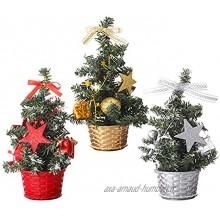3 pièces mini sapin de Noël artificiel avec ornements,sapin de Noël de table de 20 cm,petit sapin de Noël de 8 pouces,Mini décoration de bureau de sapins de Noël pour la maison de Noël,décor de bureau
