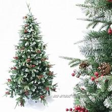 Arcoiris® Arbre de Noël artificiel pommes de pin et acajou vert naturel matériau PVC support en métal 120 à 240cm