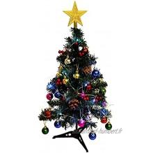 Betos Petit sapin de Noël artificiel avec LED 30 cm 45 cm 60 cm mini sapins de Noël artificiels avec ornements sapin de Noël avec base pour fête de Noël maison bureau décoration d'intérieur