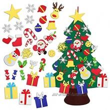 DIY Feutre Arbre de Noël avec 30pcs Ornements Détachables Sapin Feutrine Cadeaux de Noël pour Enfants Porte-Manteau Décoration Vitrine Murale de Porte 100x70cm