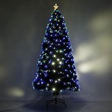 HOMCOM Sapin Arbre de noël Artificiel Lumineux avec Fibre Optique+230 LED 8 Modes Scintillants Ø82cm Hauteur 180cm Vert Neuf 61
