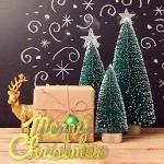 KUUQA 36 Pcs Mini Sisal Neige Givre Arbres De Noël Bouteille Brosse Arbres En Plastique Hiver Neige Ornements Arbres de Table avec Joyeux Noël lettres pour Party De Noël À La Maison Modèles De Diorama