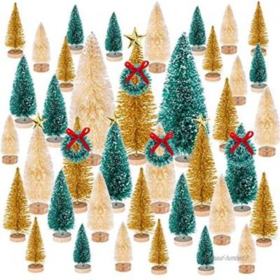 MELLIEX 47 PCS Mini Sapin de Noël Multicolore Miniature Arbre de Noël Mini Sisal Bouteille Brosse Arbres pour la Fête De Noël Décoration de La Maison