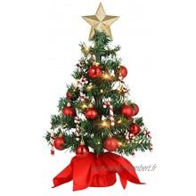 PRETYZOOM Mini Sapin de Noël Petit Bureau avec Lumières Arbres de Noël Artificiels de Bureau avec LED Guirlande Lumineuse Suspendue Ornements de Boule de Noël Fournitures de Fête